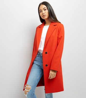 Petite Red Longline Collared Coat