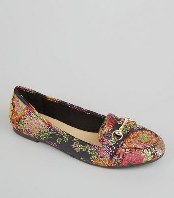 Black Floral Brocade Snaffle Trim Loafers