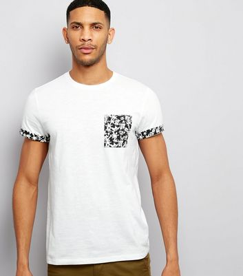 White Floral Pocket T-Shirt