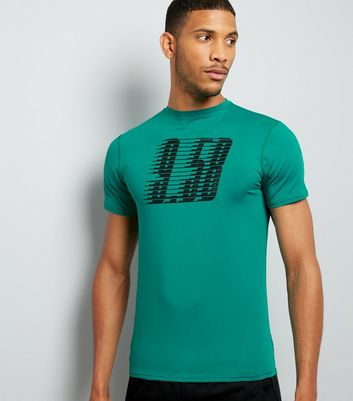 Petrol Blue Graphic Print Sports T-Shirt