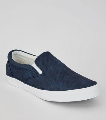 Navy Suedette Perforated Plimsolls