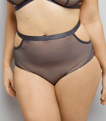 Curves Grey Strappy Mesh High Waist Briefs