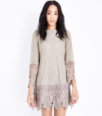 Mela Cream Floral Lace Drop Waist Dress