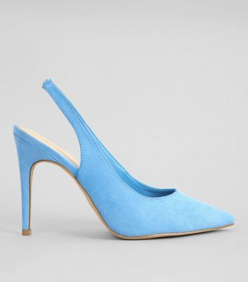 Wide Fit Light Blue Suedette Pointed Sling Back Heels