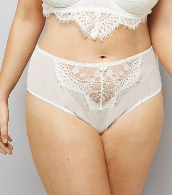 Curves Cream Bridal Lace Briefs