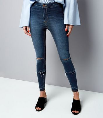 Petite Blue Double Rip Skinny Disco Jeans