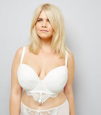 Curves Cream Bridal Lace Longline Plunge Bra