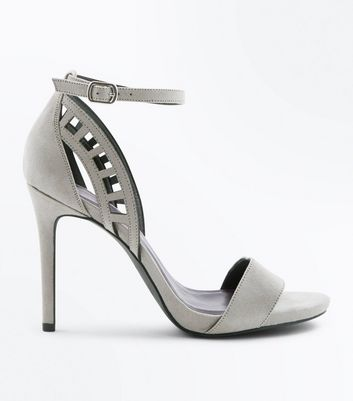 Wide Fit Grey Cut Out Side Heels