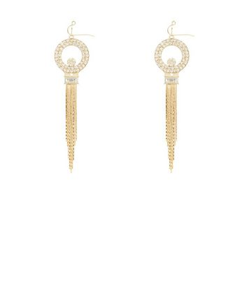 Gold Diamond Ring Tassel Drop Earrings
