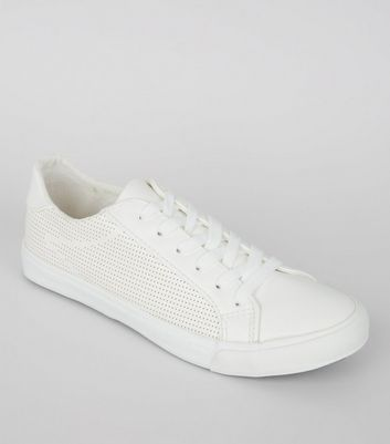 White Perforated Side Lace Up Trainers