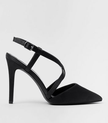 Wide Fit Black Satin Cross Strap Pointed Heels