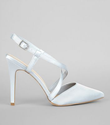 Wide Fit Pale Blue Satin Cross Strap Pointed Heels