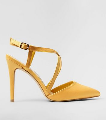 Wide Fit Yellow Satin Cross Strap Pointed Heels