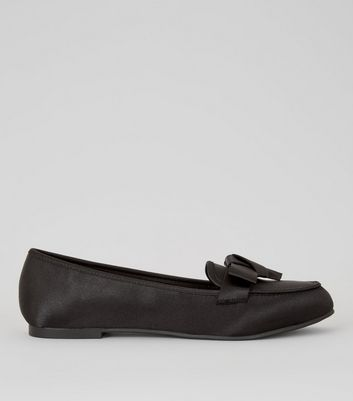 Black Satin Bow Front Loafers