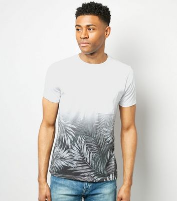 White Ombre Palm Leaf Print T-Shirt