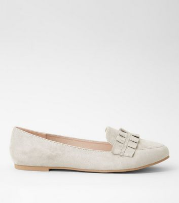 Grey Suedette Frill Trim Loafers