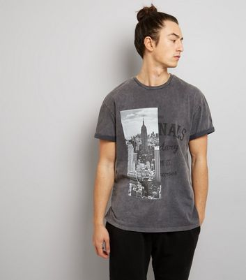 Grey Acid Wash Spliced Print T-Shirt