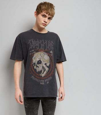 Dark Grey Acid Wash Skull Print Rock T-Shirt