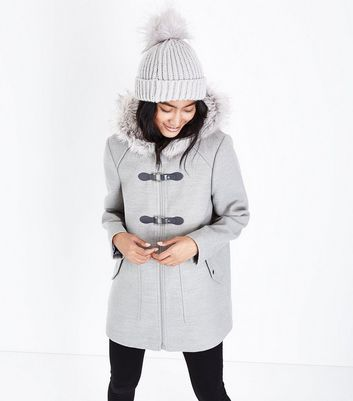 Pale Grey Faux Fur Trim Duffle Coat
