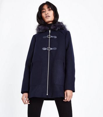 Navy Faux Fur Trim Duffle Coat