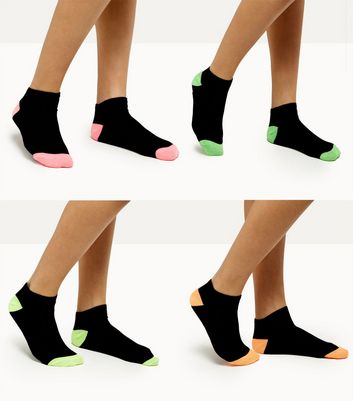 4 Pack Black Neon Trim Trainer Socks
