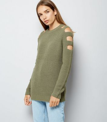 Olive Green Cut Out Shoulders Longline Jumper