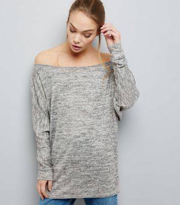 Pale Grey Brushed Bardot Neck Longline Top