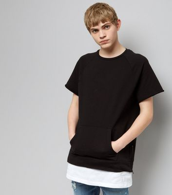 Black Short Sleeve Side Zip Layered Sweater