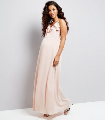 Maternity Shell Pink Chiffon Frill Trim Maxi Dress