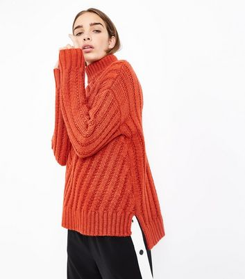 Orange Funnel Neck Step Hem Ribbed Jumper