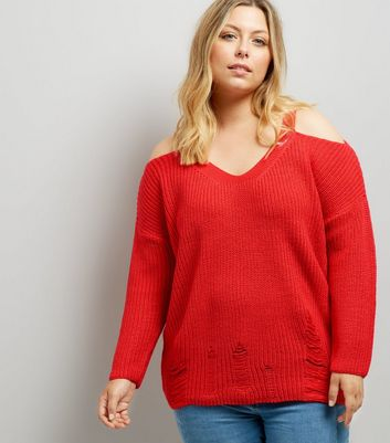 Curves Red Cold Shoulder Ladder Trim Jumper
