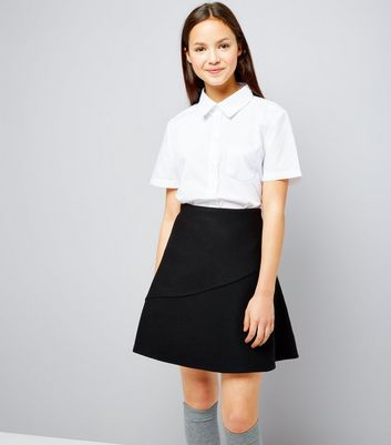 Teens Black Knitted Skater Skirt