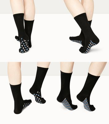 4 Pack Black Patterned Sole Socks