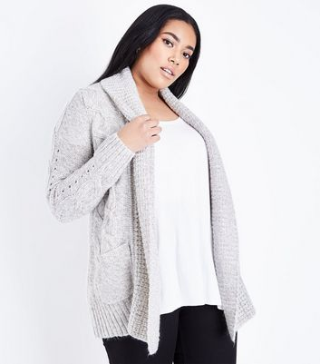 Curves Grey Cable Knit Cardigan