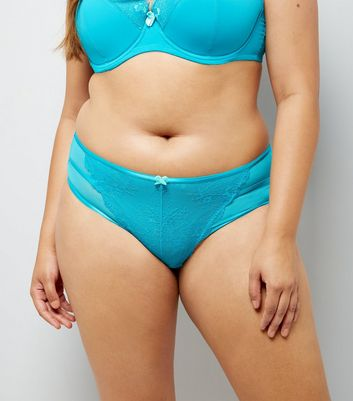 Curves Petrol Blue Lace Strap Back Brazilian Briefs