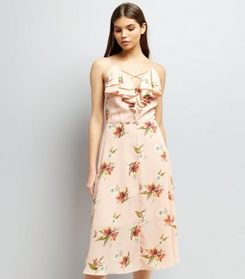 Shell Pink Floral Print Frill Trim Front Midi Dress