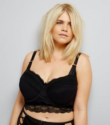 Curves Black Premium Lattice Front Lace Longline Bra