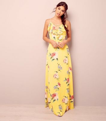Yellow Floral Print Lattice Front Maxi Dress