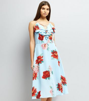 Blue Floral Print Frill Trim Midi Dress