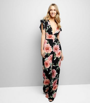 Black Floral Print V Neck Jumpsuit