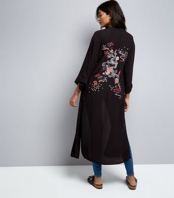 Black Dragon and Floral Embroidered Kimono