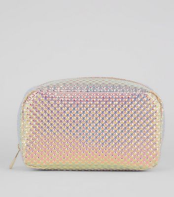 Mid Pink Diamond Stud Make Up Bag