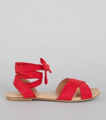 Teens Red Suedette Ankle Tie Sandals