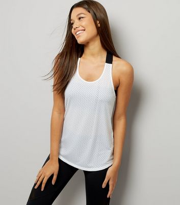 White Mesh Contrast Racer Back Sports Vest