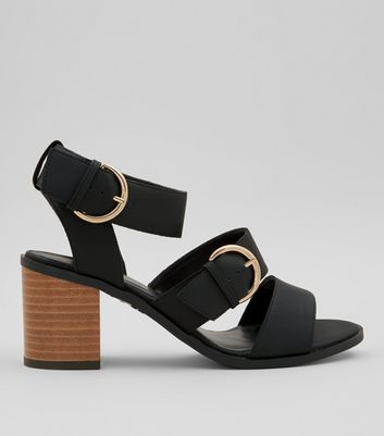Teens Black Buckle Strap Heeled Sandals