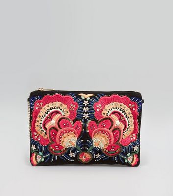 Black Floral Bead Embroirdered Clutch