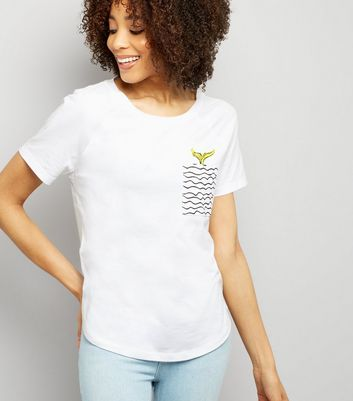 Noisy May White Mermaid Pocket T-Shirt