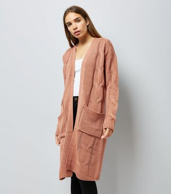 Noisy May Pink Cable Knit Longline Cardigan