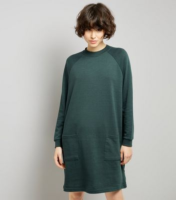 Noisy May Dark Green Double Pocket Jumper Dress