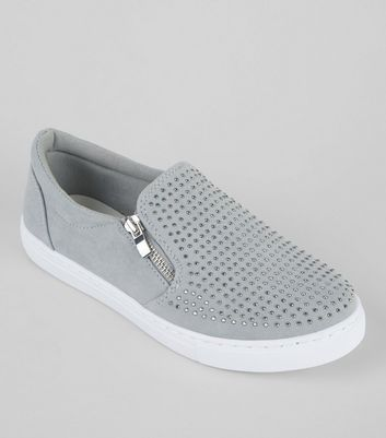 Teens Grey Suedette Diamante Zip Side Plimsolls